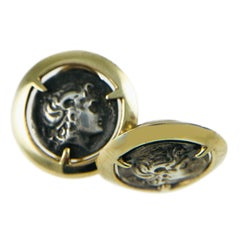 Two-Tone Alexander the Great Coin Stud Earrings