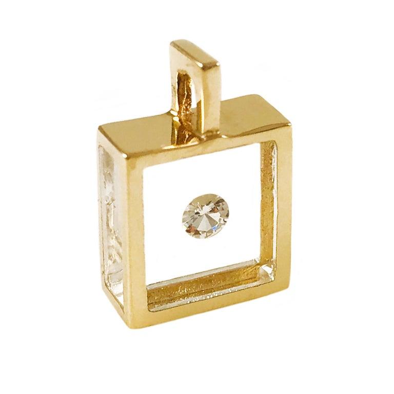 Incogem Floating Solitaire Diamond Pendant 14k Yellow Gold For Sale