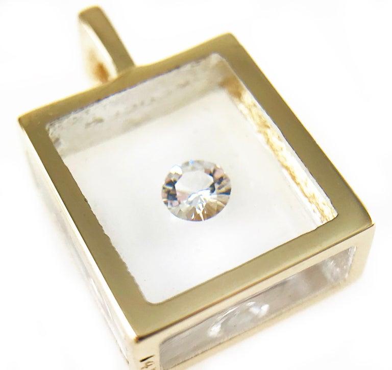 Round Cut Incogem Floating Solitaire Diamond Pendant 14k Yellow Gold For Sale
