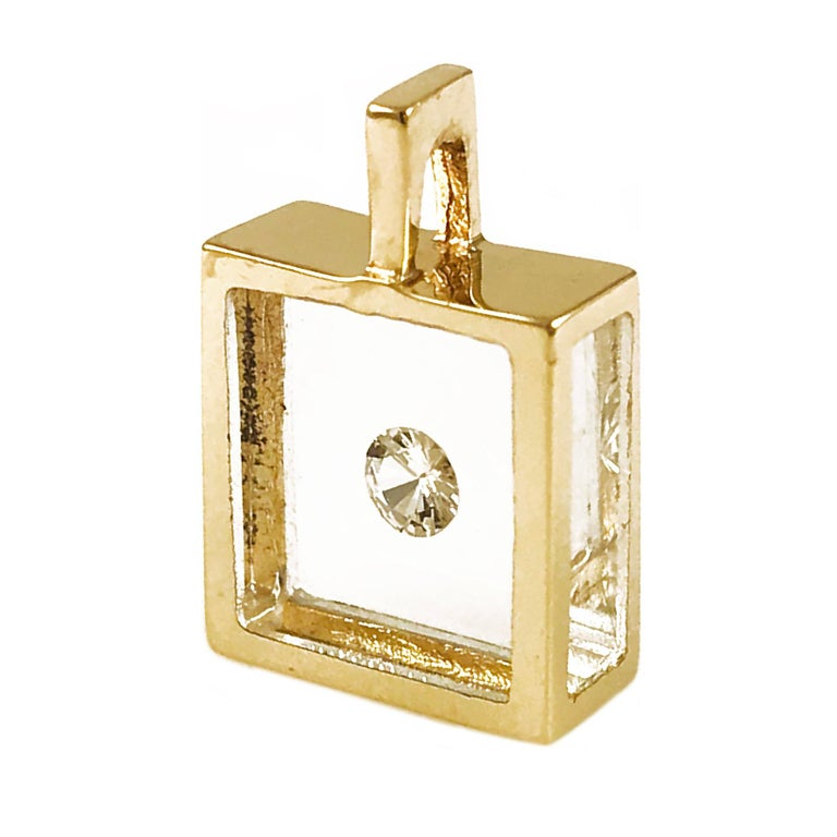 Retro Incogem Floating Solitaire Diamond Pendant 14k Yellow Gold For Sale