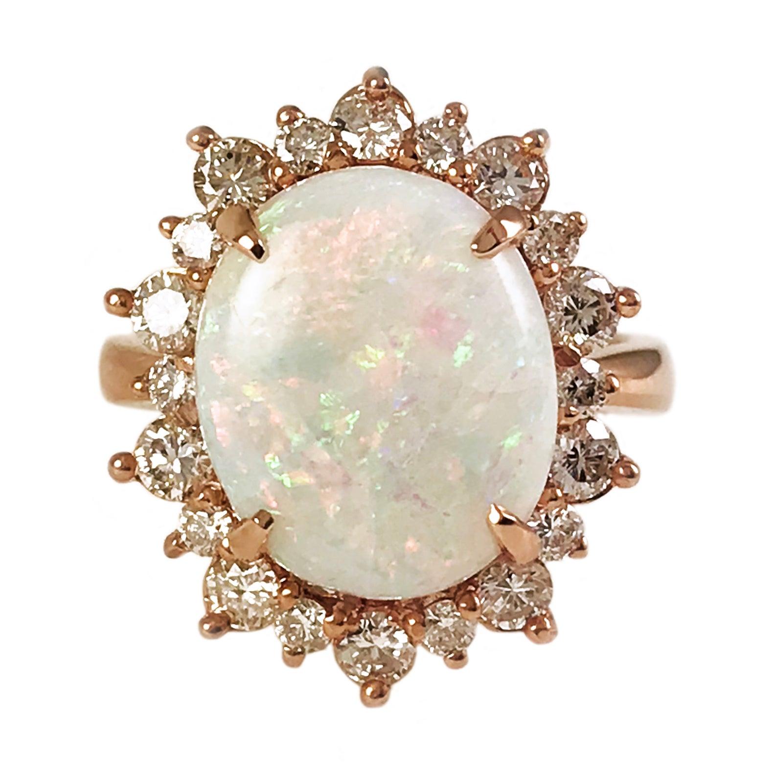 14 Karat Rose Gold, Natural Opal Cocktail Ring