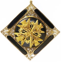 19th Century Antique Onyx Pendant, Enhancer 14k Gold with Floral Gold Appliqués