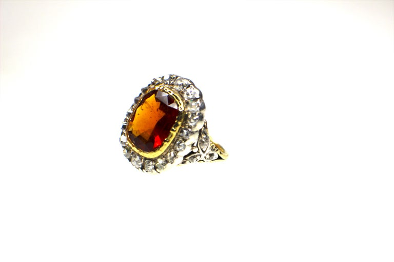 Antique Mandarin-Spessartite Granet & Diamond Ring mid 19th Century