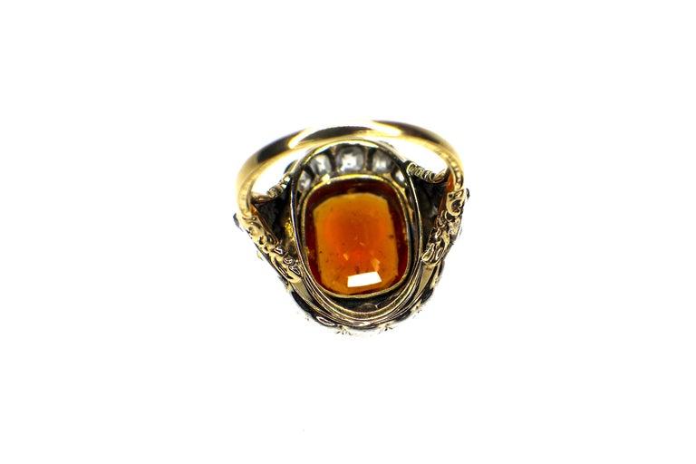 Victorian GEMOLITHOS Antique Mandarin-Spessartite Granet & Diamond Ring, Mid-19th Century For Sale