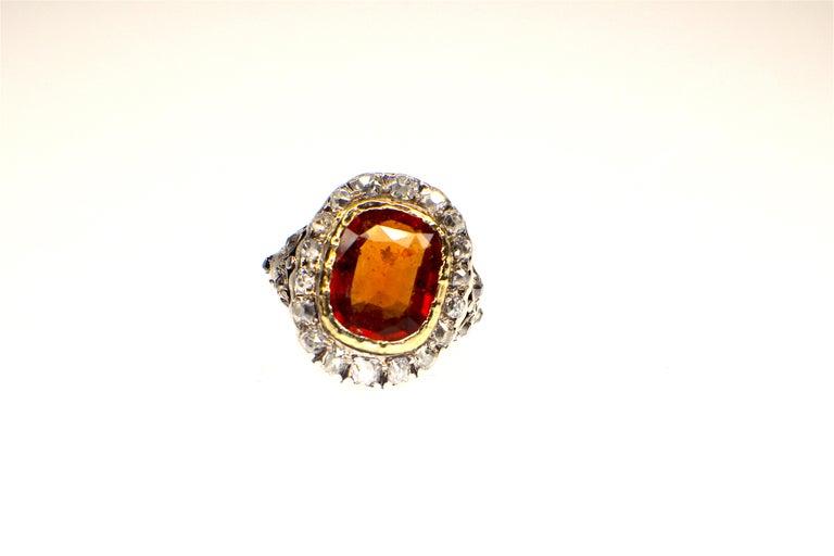 Cushion Cut GEMOLITHOS Antique Mandarin-Spessartite Granet & Diamond Ring, Mid-19th Century For Sale