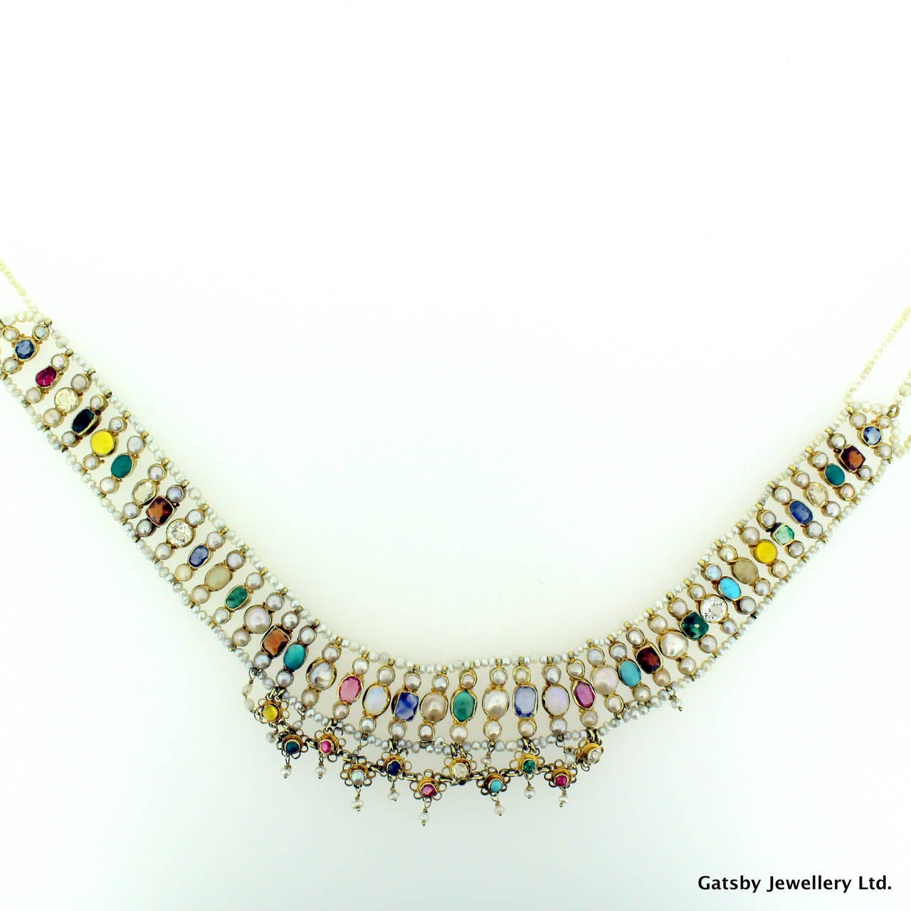 Multi Row Pearl Necklace: Natural Pearl Multi Gemstone Three Row Choker Necklace At