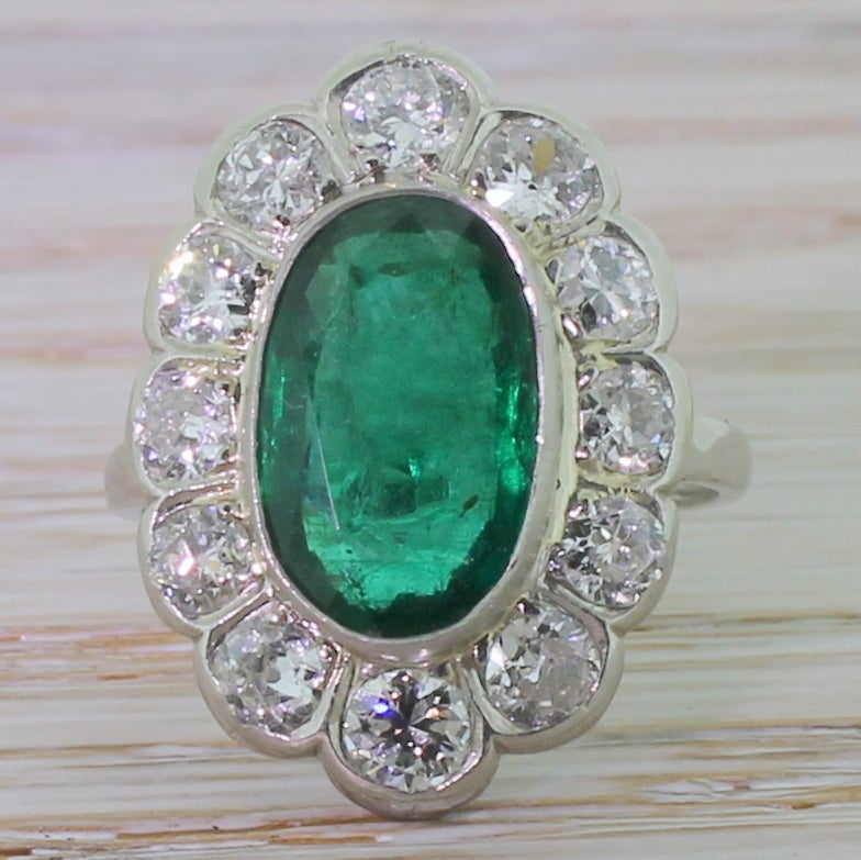 Classic 3 00 Carat Emerald Diamond Gold Platinum Oval Cluster Ring at 1stdibs