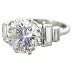 Kutchinsky 4.00 Carat Transitional Cut Diamond Engagement Ring