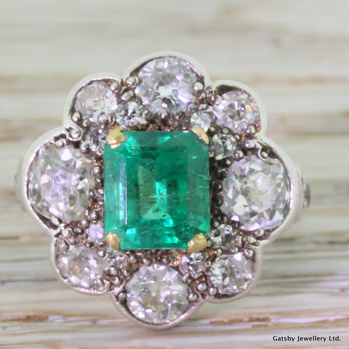 emerald cut cluster ring at 1stdibs