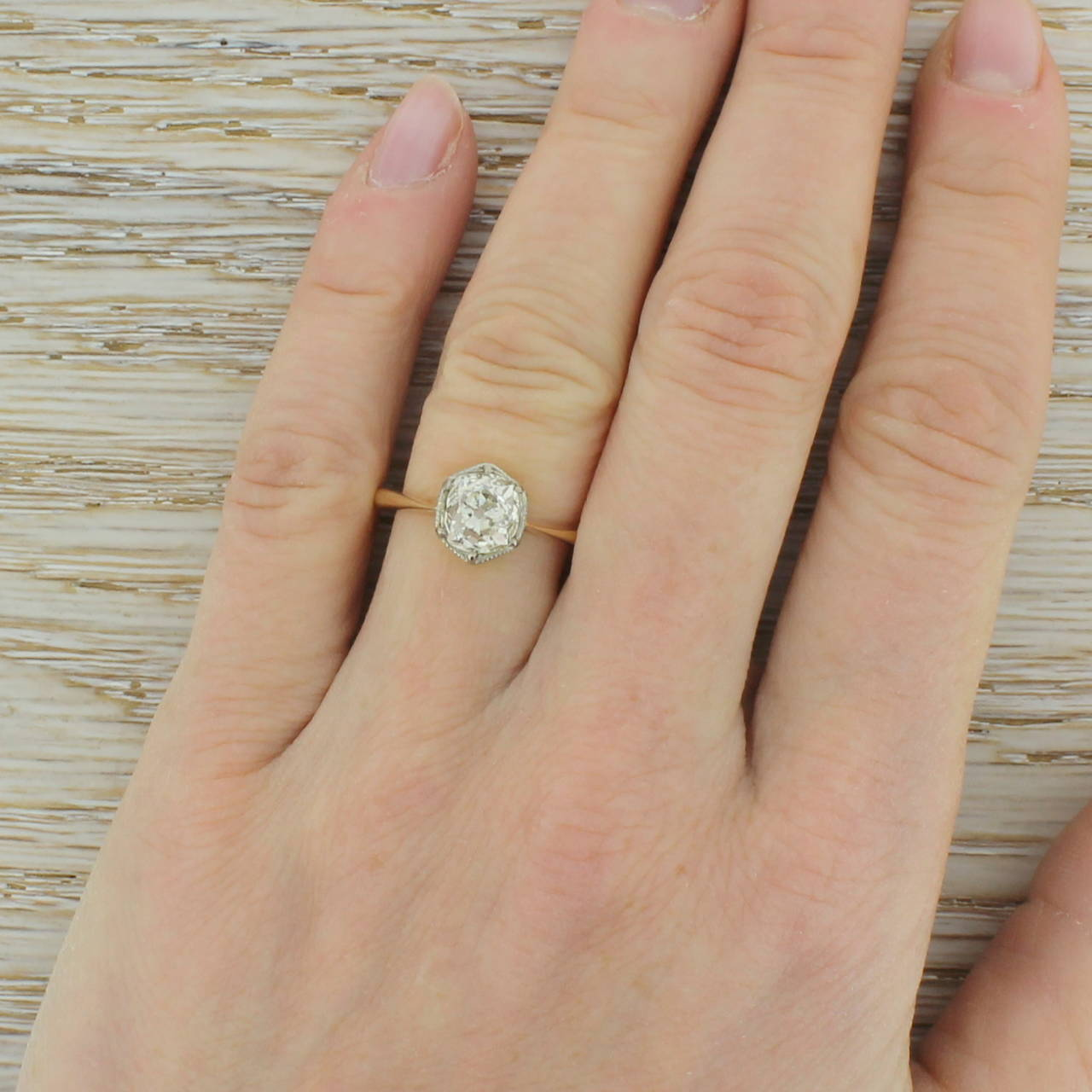 Early 20th Century 1.47 Carat Old Cut Diamond Gold Engagement Ring 5