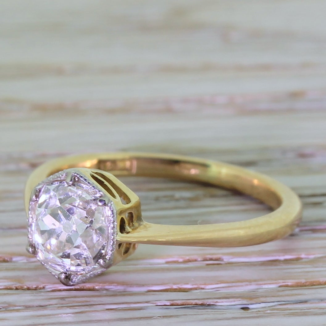 Early 20th Century 1.47 Carat Old Cut Diamond Gold Engagement Ring 6