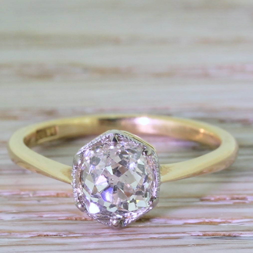 Early 20th Century 1.47 Carat Old Cut Diamond Gold Engagement Ring 2