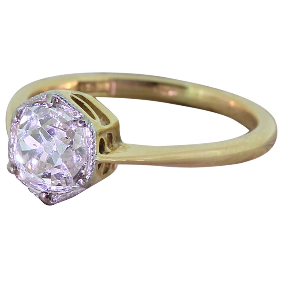Early 20th Century 1.47 Carat Old Cut Diamond Gold Engagement Ring 1