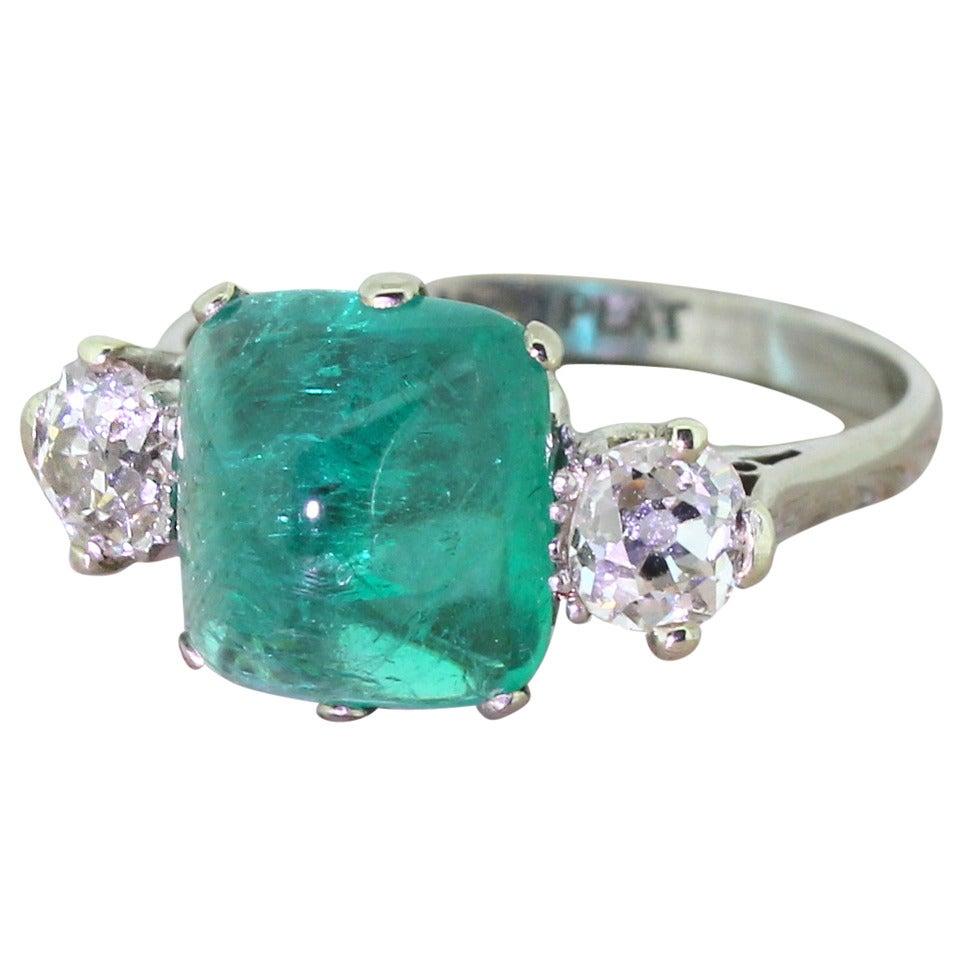 4 02 carat cabochon emerald gold platinum ring at