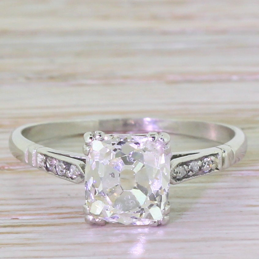 1 91 Carat Cushion Shaped Old Cut Diamond Gold Engagement Ring at 1stdibs