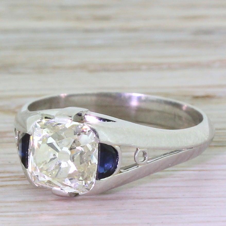 Modernist 2 54 Carat Old Cushion Cut Sapphire Diamond Platinum Engagement Rin