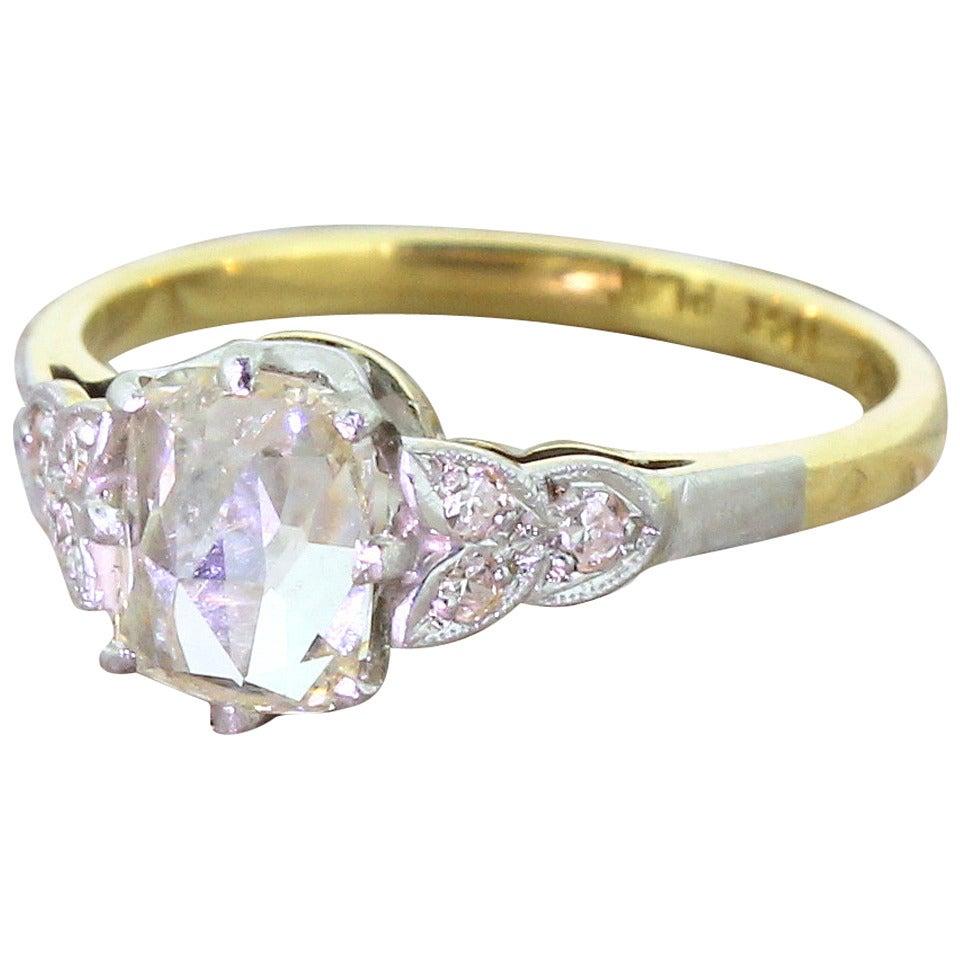Rose Cut Diamond Gold Platinum Engagement Ring At 1stdibs