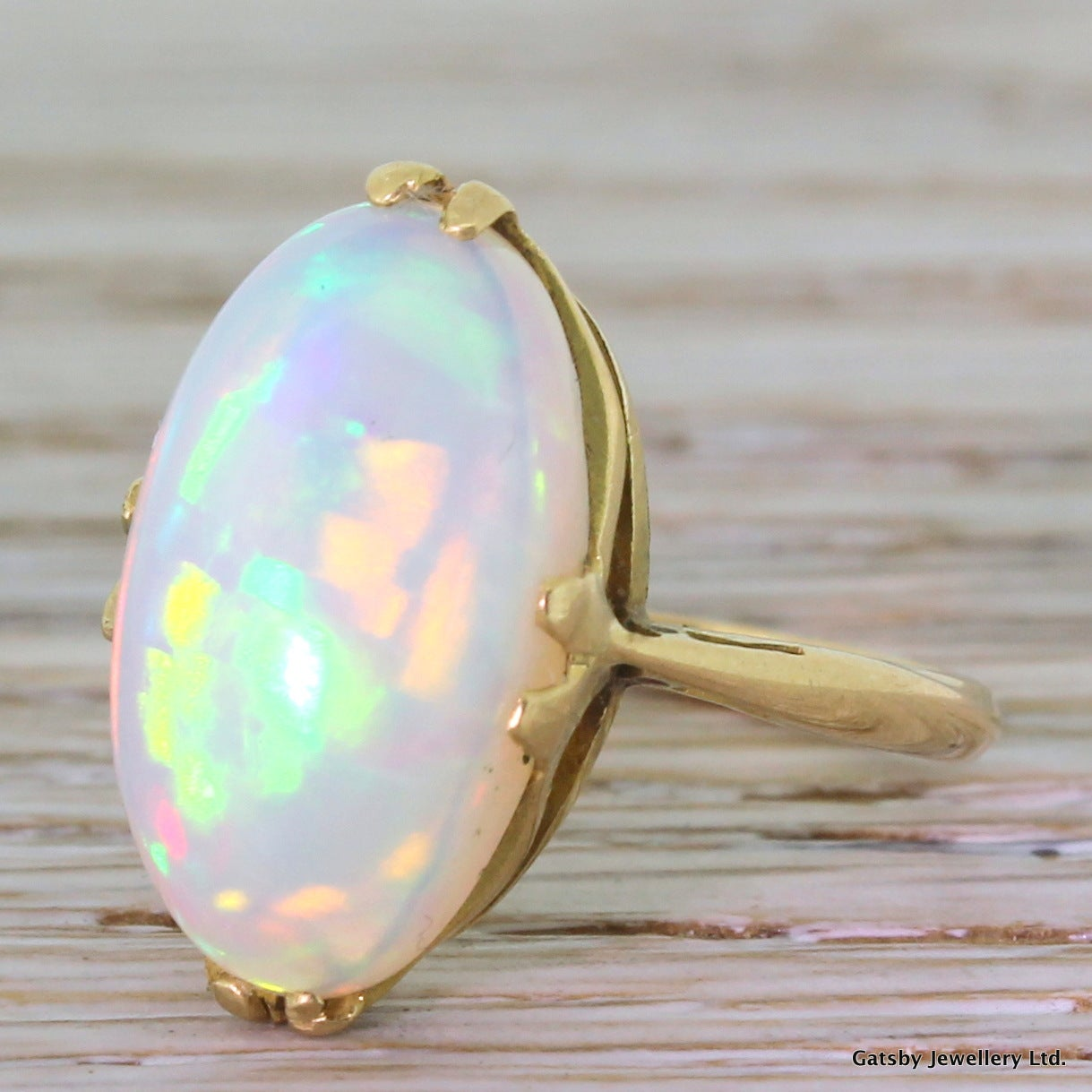 6.00 Carat Opal Gold Cocktail Ring 6