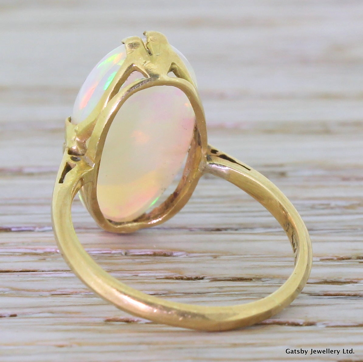 6.00 Carat Opal Gold Cocktail Ring 4