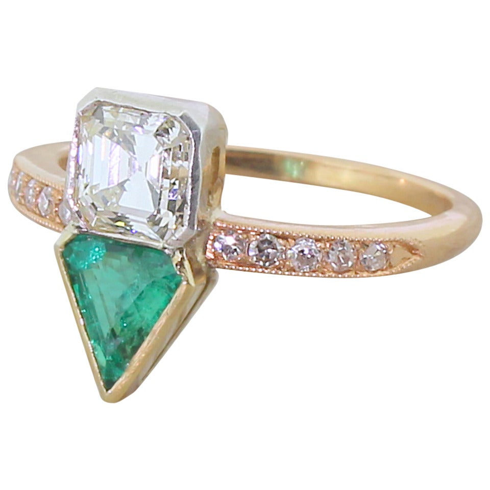Art Deco Square Step Cut Diamond Triangle Cut Emerald Ring 1