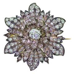 Victorian Old Cut Diamond & Rose Cut Diamond Silver Gold Flower Brooch