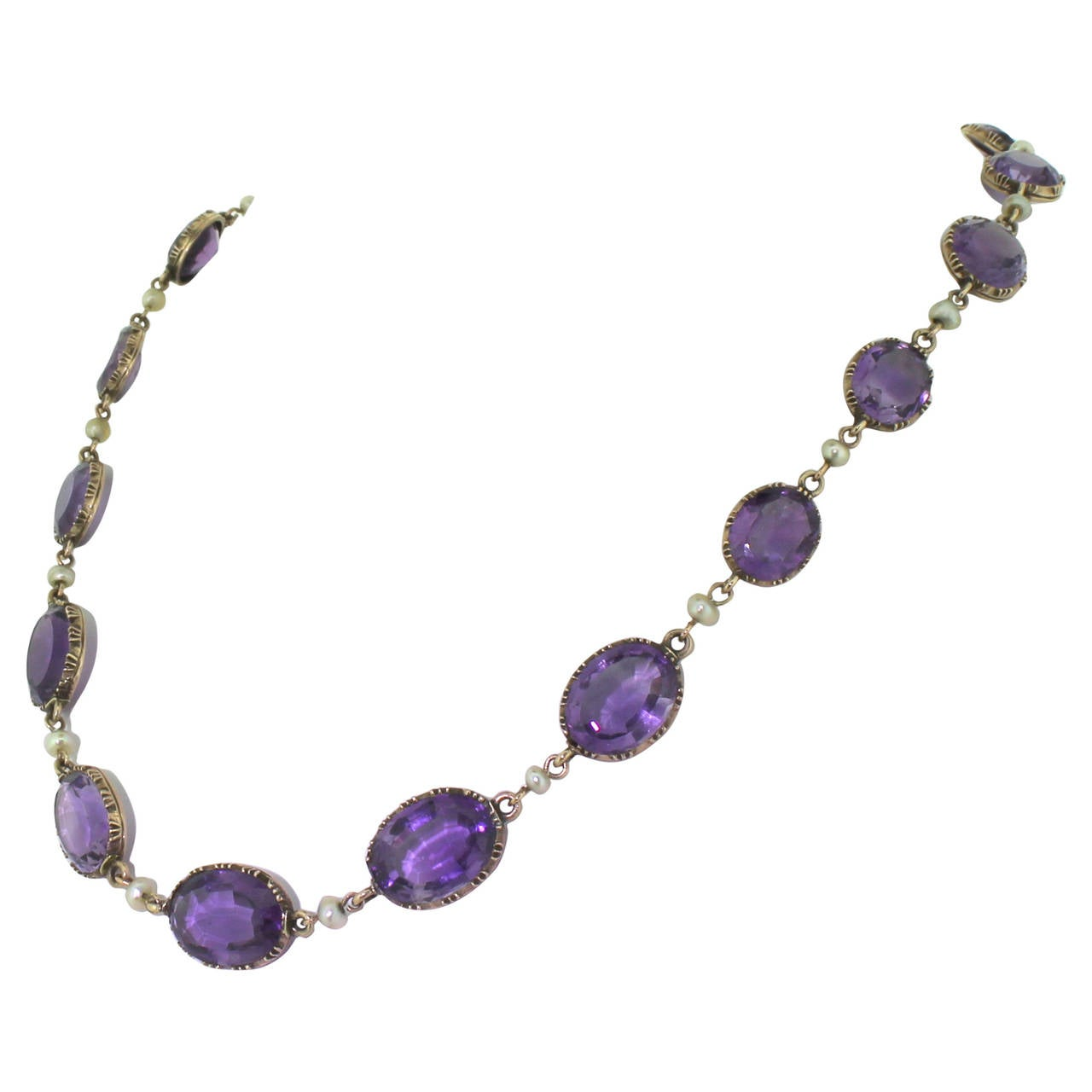 Victorian Amethyst And Pearl Riviere Necklace Circa 1880