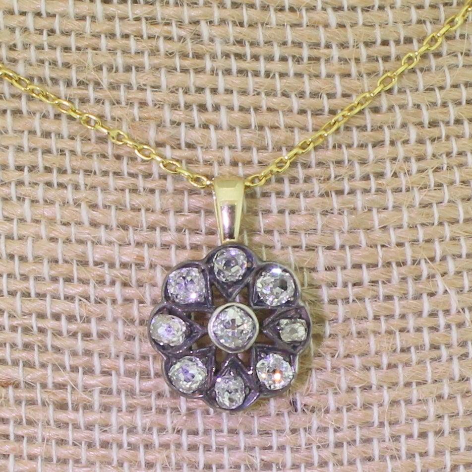Victorian 1.20 Carat Old Cut Diamond Gold Cluster Pendant 6