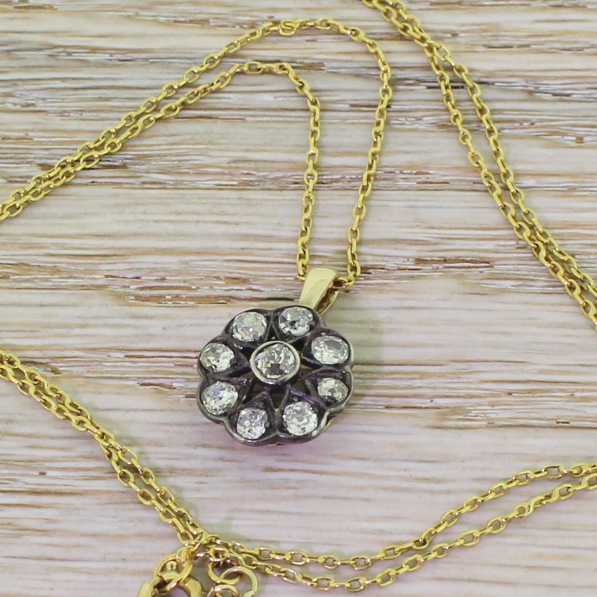 Victorian 1.20 Carat Old Cut Diamond Gold Cluster Pendant 2
