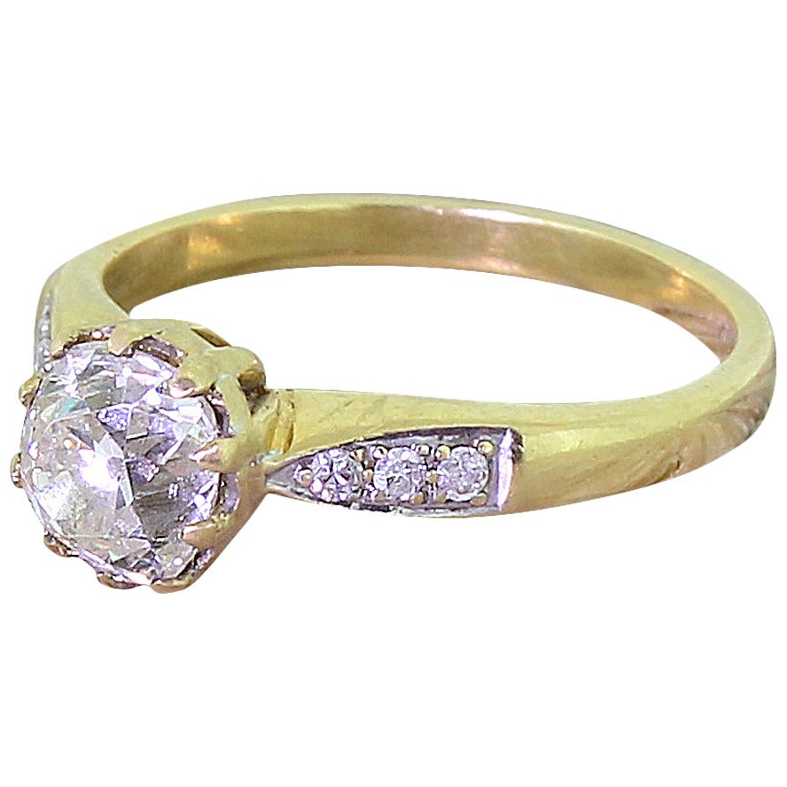 Mid century carat old cut diamond gold engagement for 26 carat diamond ring