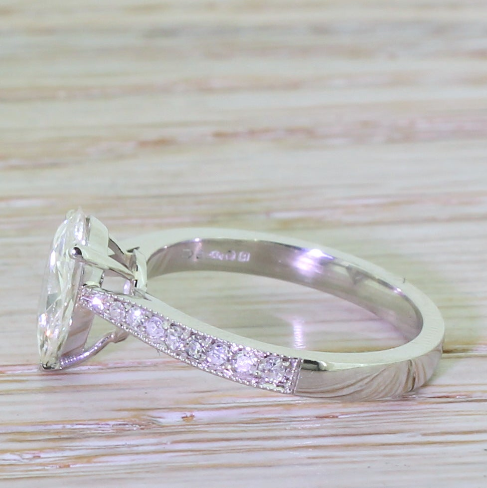 1 14 Carat Pear Shaped Old Cut Diamond Platinum Engagement Ring at 1stdibs