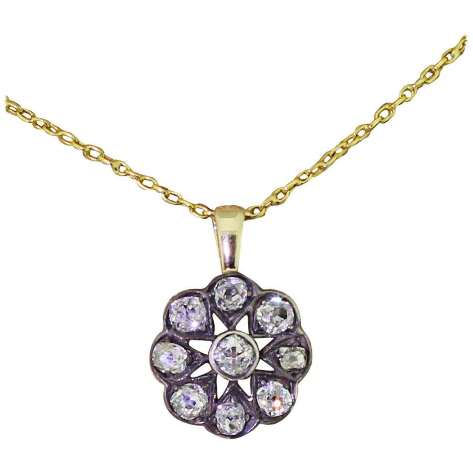 Victorian 1.20 Carat Old Cut Diamond Gold Cluster Pendant 1