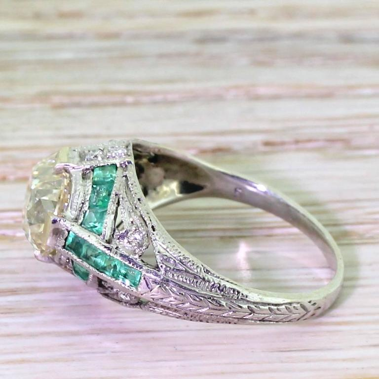 deco 2 01 carat cut emerald gold engagement ring for sale at 1stdibs