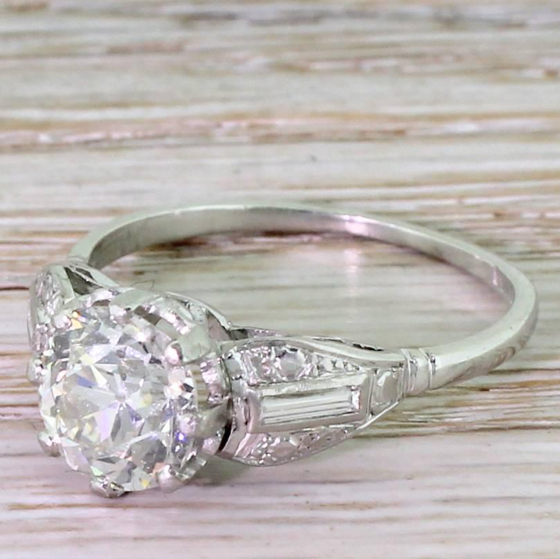 Art Deco 2 00 Carat Old Cut Diamond Platinum Engagement Ring For Sale at 1stdibs