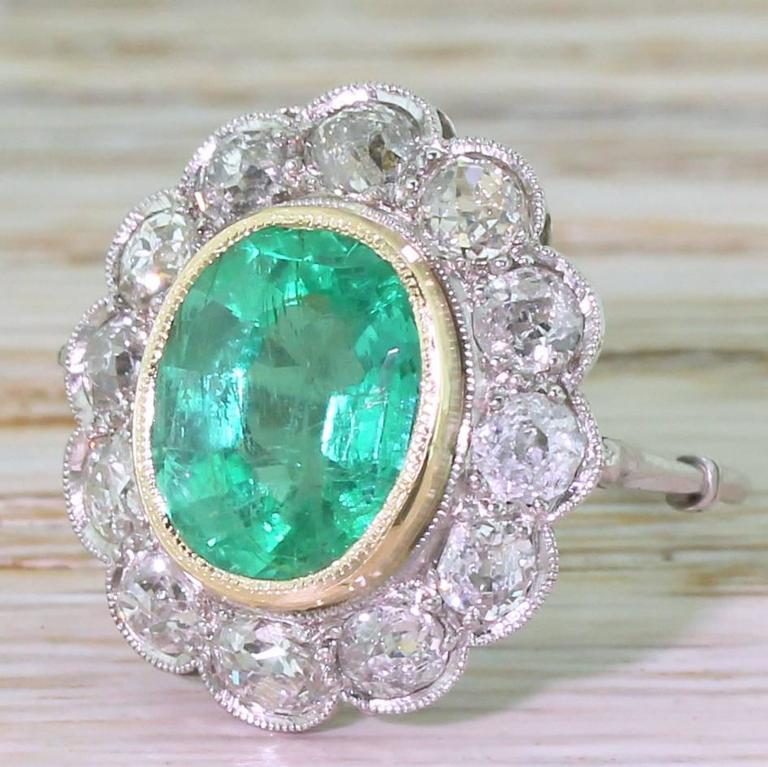 Antique Edwardian 3.26 Carat Colombian Emerald Old Cut ...