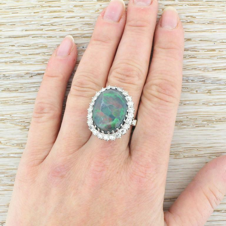 Mid Century 16.50 Carat Natural Black Opal Gold Cocktail Ring 5