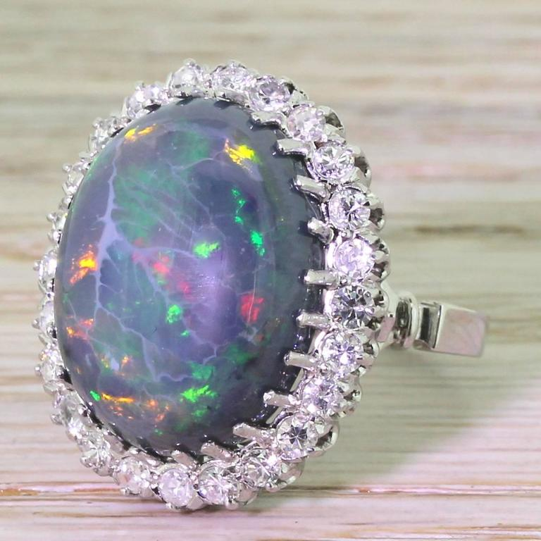Mid Century 16.50 Carat Natural Black Opal Gold Cocktail Ring 6