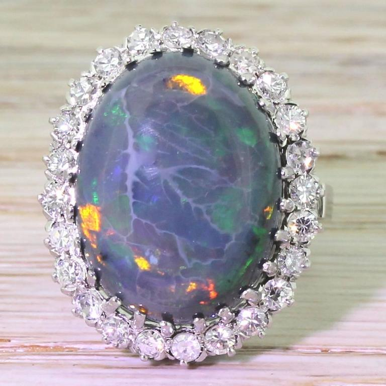 Mid Century 16.50 Carat Natural Black Opal Gold Cocktail Ring 2