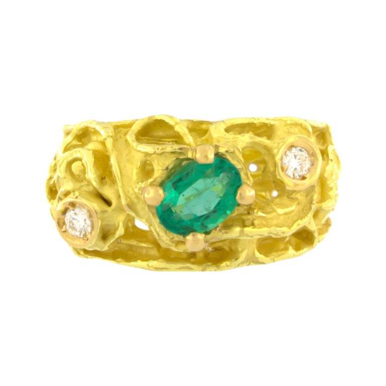 Oval Emerald and Diamonds Satin Yellow Gold Cocktail Ring, from Sacchi's Abstract Collection, hand-crafted with lost-wax casting technique.  Lost-wax casting, one of the oldest techniques for creating jewelry, forms the basis of Sacchi's jewelry