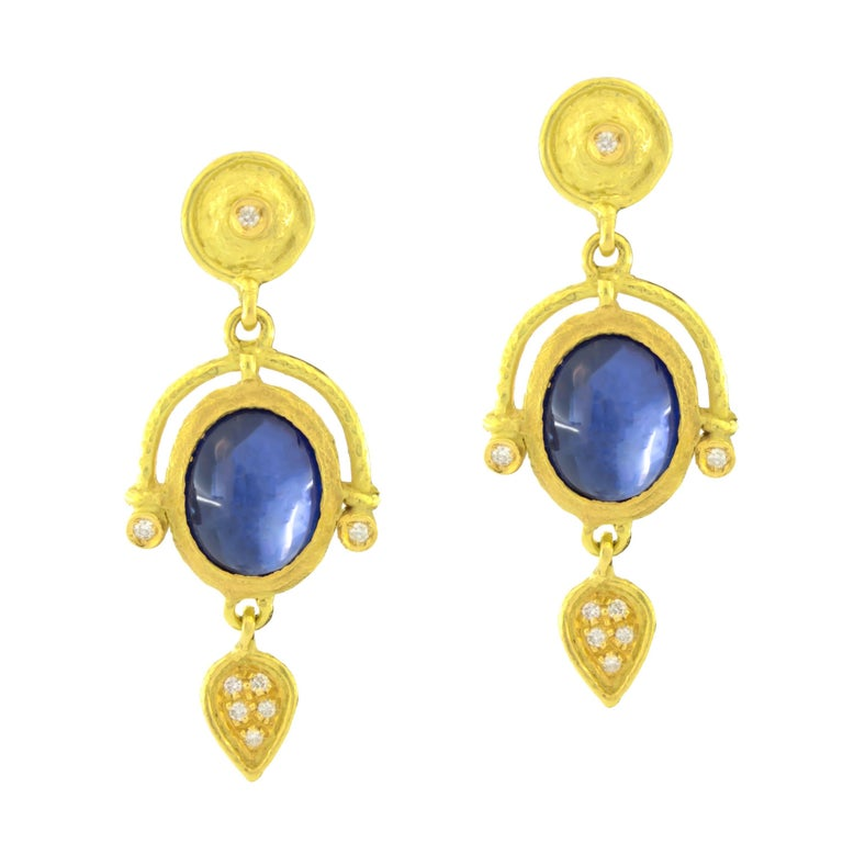 Sacchi 5.13 Carat Blue Sapphire and Diamonds Gemstone 18k Gold Drop Earrings