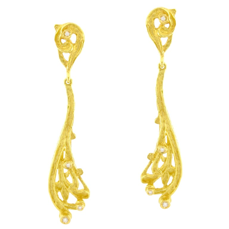 Sacchi Diamonds Gemstone 18k Yellow Gold Burlesque Drop Earrings For Sale
