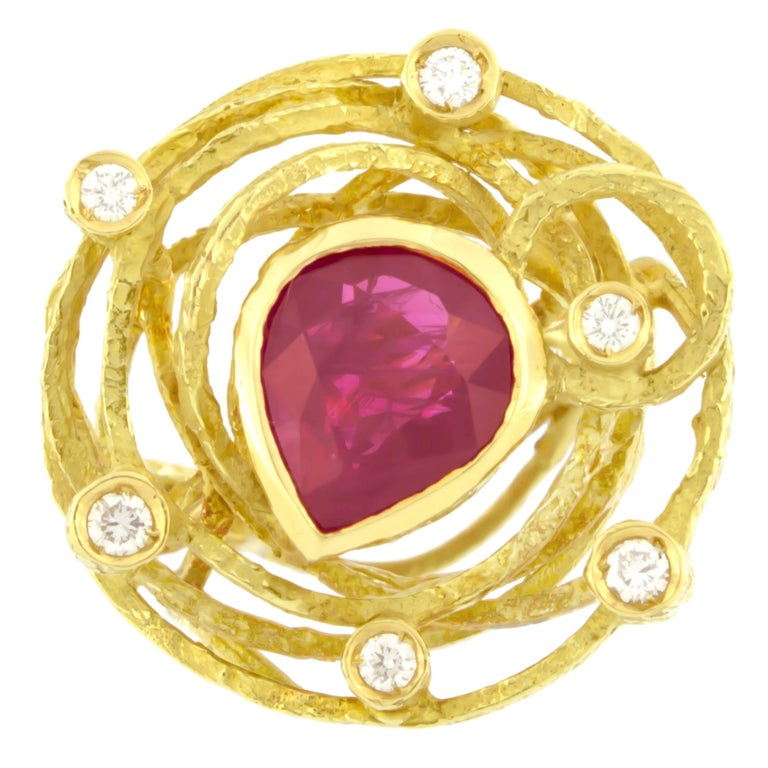Gorgeous Pear cut Ruby and Diamonds Satin Yellow Gold Cocktail Ring, from Sacchi's