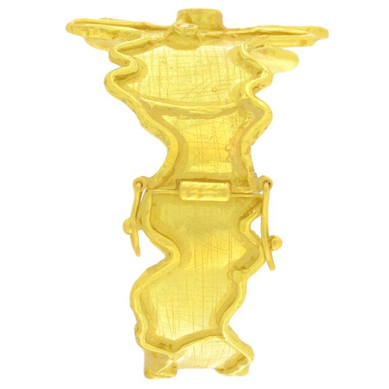 Round Cut Sacchi Round Emerald and Diamonds Gemstone 18 Karat Yellow Gold Cuff Bracelet For Sale