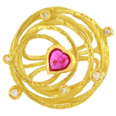 Sacchi Heart Ruby and Diamonds Gemstone 18 Karat Yellow Gold Cocktail Ring