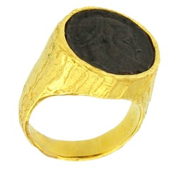 Sacchi Ancient Roman Coin 18 Karat Yellow Gold Band Ring