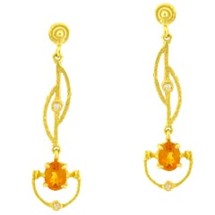Sacchi Topaz and Diamonds Gemstone 18 Karat Yellow Gold Drop Earrings