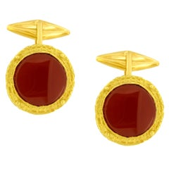 Sacchi Carnelian Gemstone 18 Karat Yellow Gold Round Cufflinks