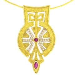"""Sacchi """"Saint Peter's Square"""" 18 Karat Yellow Gold Ruby and Diamonds Necklace"""