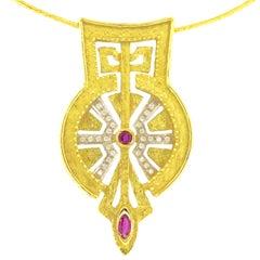 "Sacchi ""Domus Aurea"" Ruby and Diamonds Gemstone 18 Karat Yellow Gold Necklace"