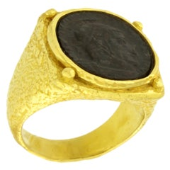 Sacchi Ancient Roman Coin Ring 18 Karat Yellow Gold