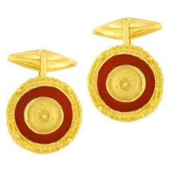 Sacchi Carnelian Gemstone 18 Karat Yellow Gold Round Cufflinks